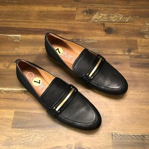 Calvin Klein leather slip on loafers